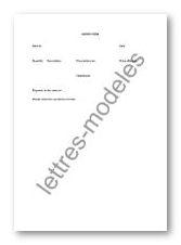 Modèle de lettre type - order form - en anglais