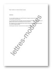 Modèle de lettre : Résiliation du bail de location d'un garage ou parking