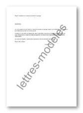 Mod le et exemple de lettres type r siliation du contrat - Modele de lettre de demande de location de garage ...